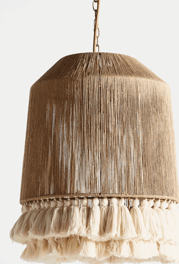Jute and fringe boho style pendant lighting idea from Anthropologie
