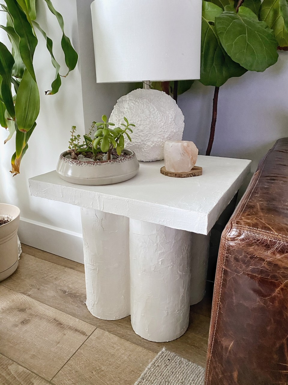 This IKEA hack turns a Lack side table into a sculptural statement accent table