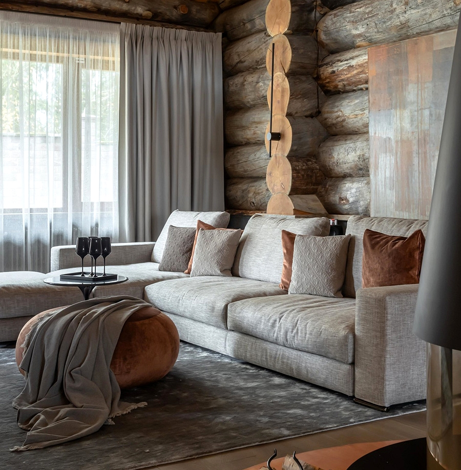 Fashionable design inside rustic cottage in Moscow