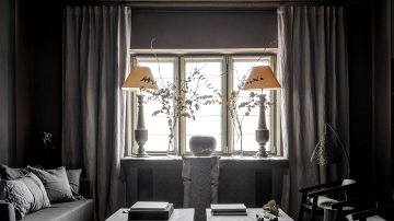 Stunning small condominium of a designer in muted darkish colours in Moscow