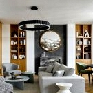 Elegant white and gray apartment with abundance of wood in Moscow