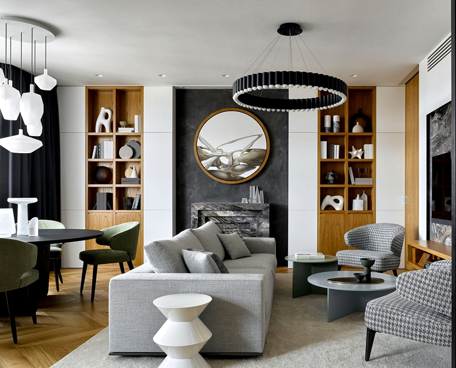 Elegant white and grey condo with abundance of wooden in Moscow