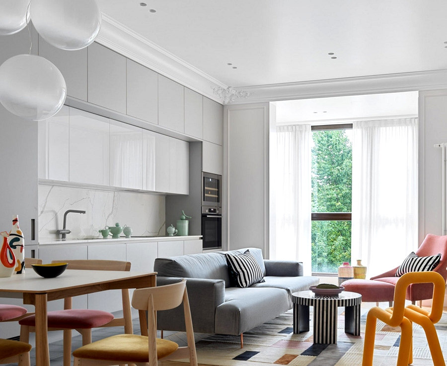 Brilliant house with colourful furnishings in Moscow (117 sqm)