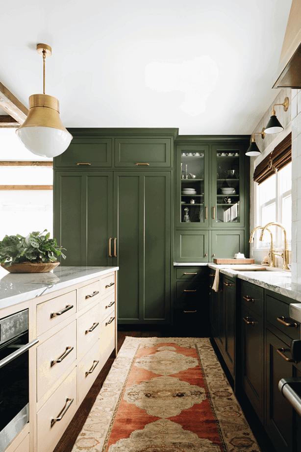 Gorgeous green and brass kitchen colour scheme