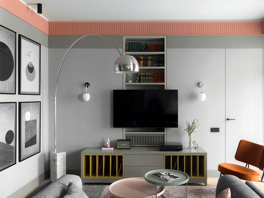 Fashionable residence with cool colour accents in Moscow (55 sqm)