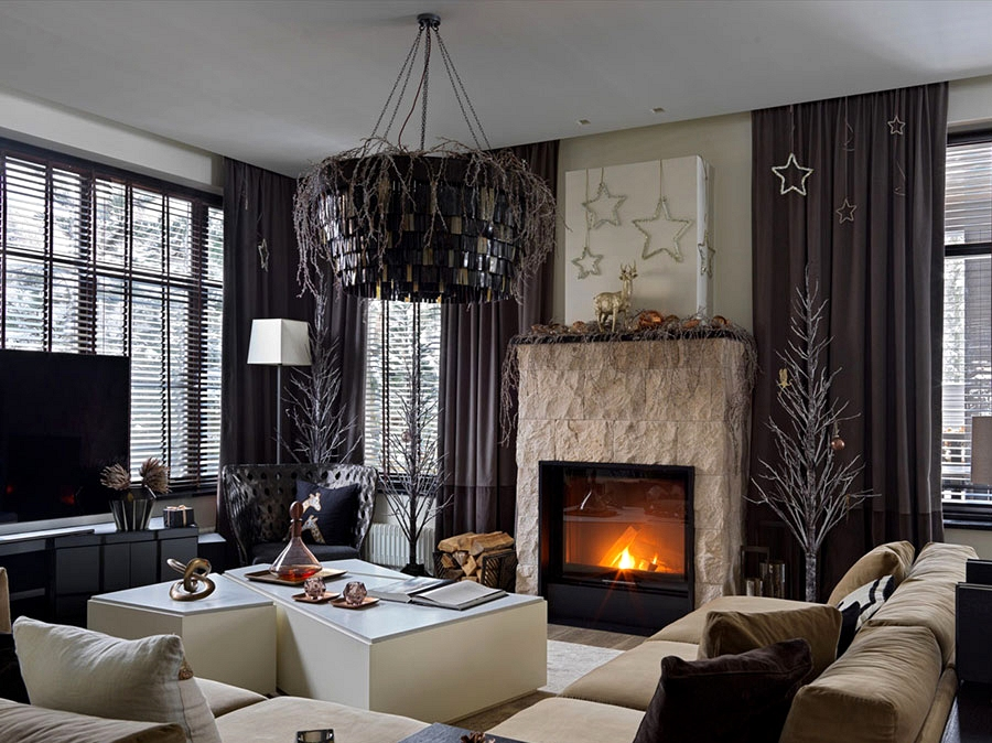 Uncommon festive decor of contemporary home within the woods in Moscow