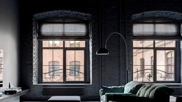 Completely black loft in ormer manufacturing unit in Moscow