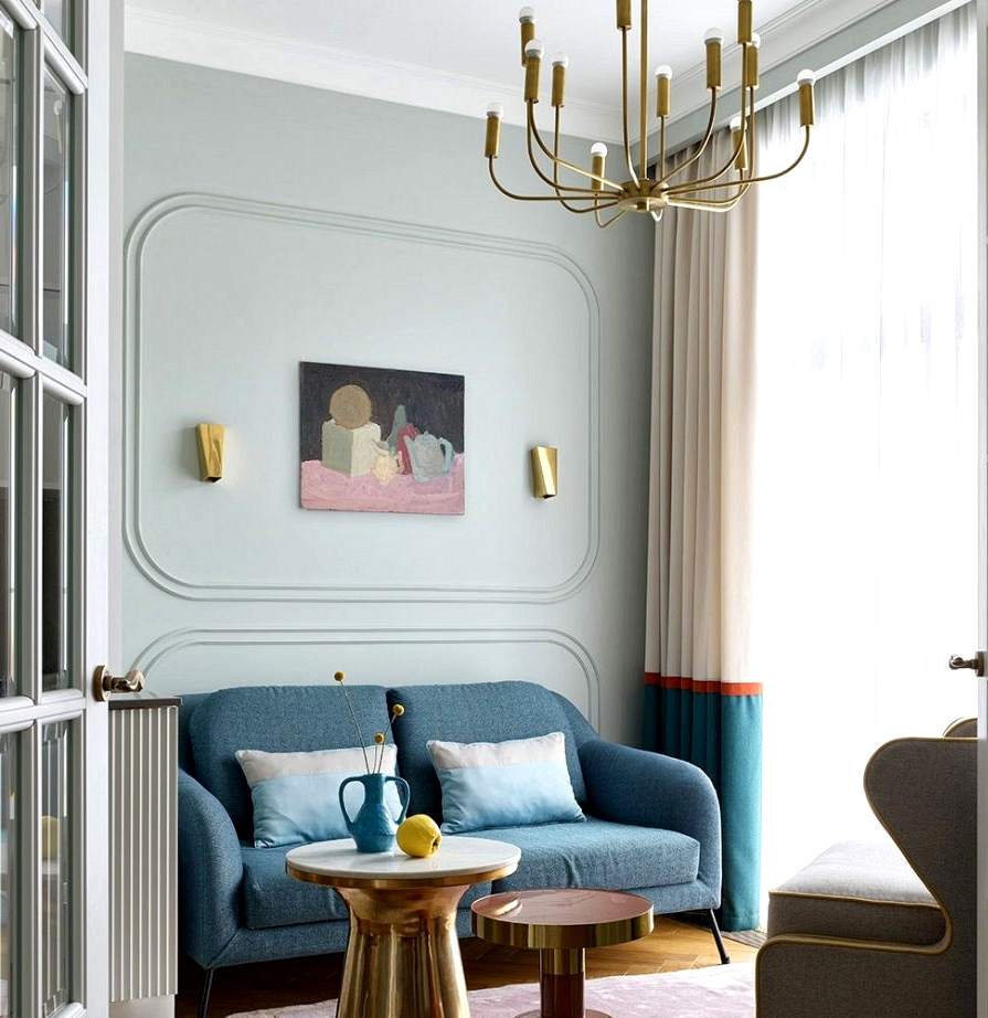 Cheerful shades and attention-grabbing particulars in design of household condo in Moscow (74 sqm)