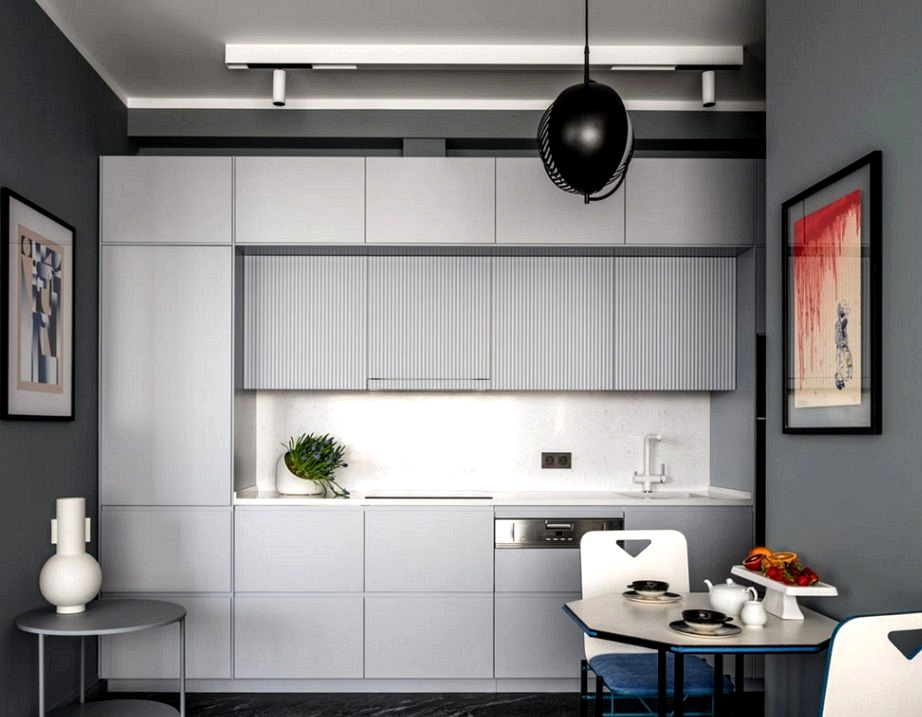 Austere fashionable inside with coloration inserts in Moscow (80 sqm)
