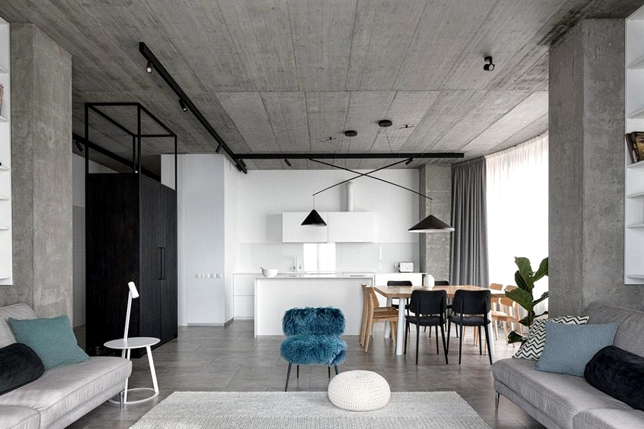 Concrete and black and white decor: a minimalist residence for a household in Kryvyi Rih