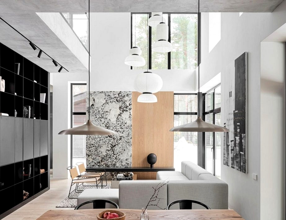 Learn how to mix Scandinavian and Japanese motives in design of contemporary home in St. Petersburg (180 sqm)