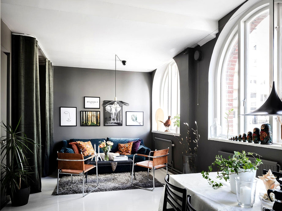 Small condominium with darkish partitions, large home windows and river views in Sweden (39 sqm)