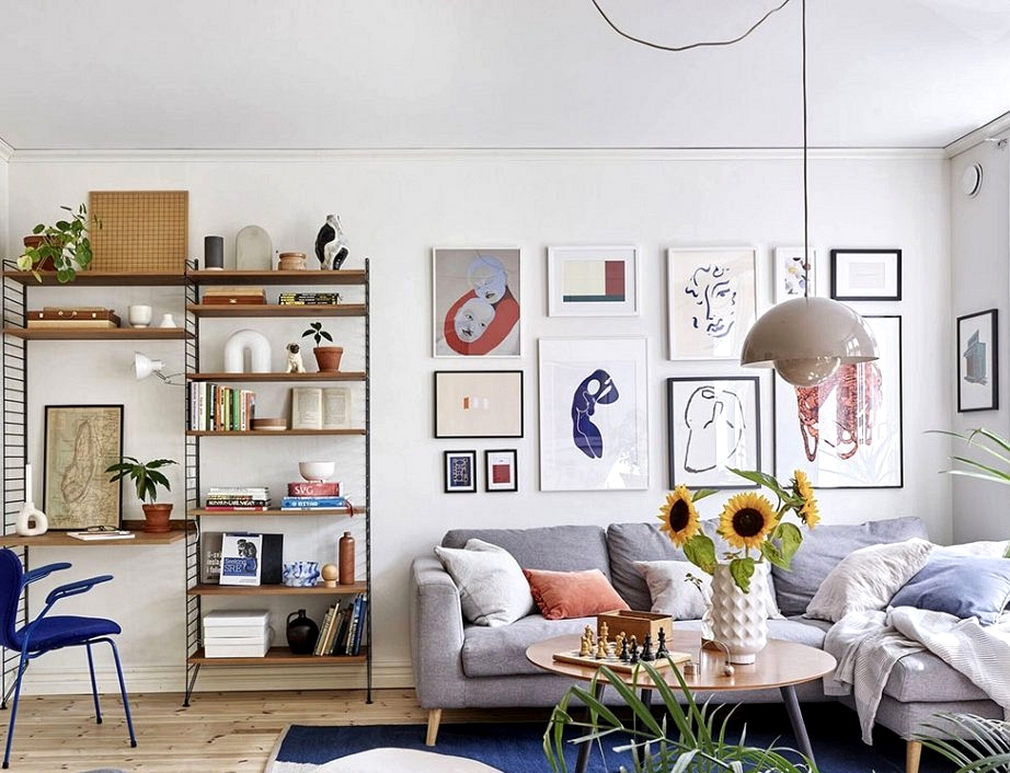 Sunny condo with vibrant posters and decor in Sweden (86 sqm)