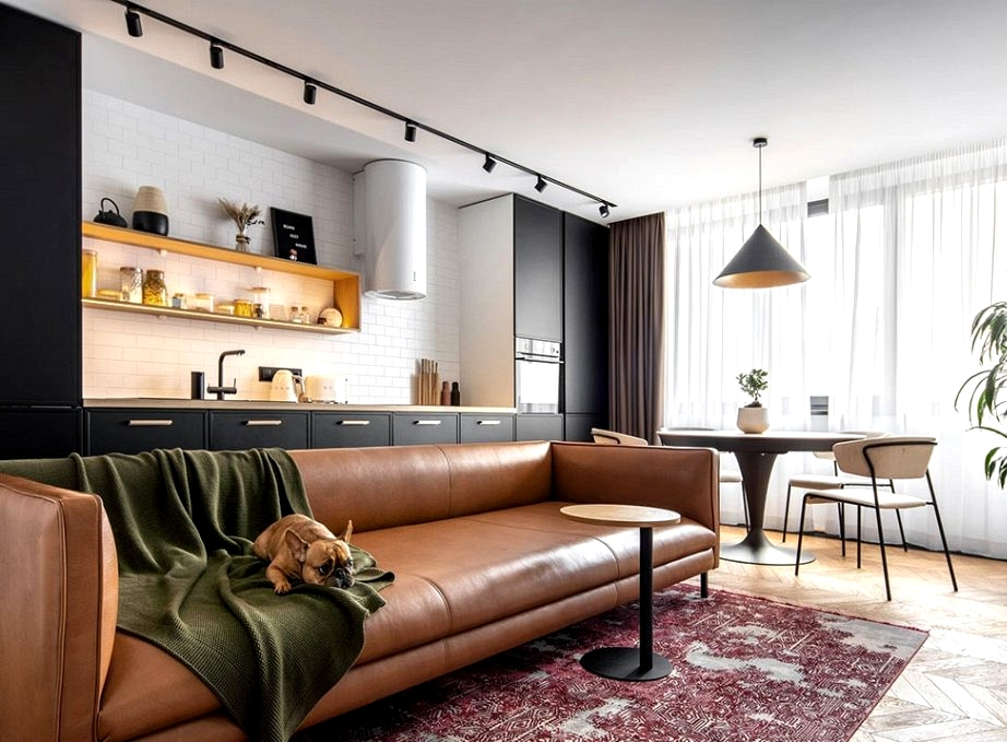 Trendy fashionable condo with black kitchen for younger household in Kyiv, Ukraine (90 sqm)