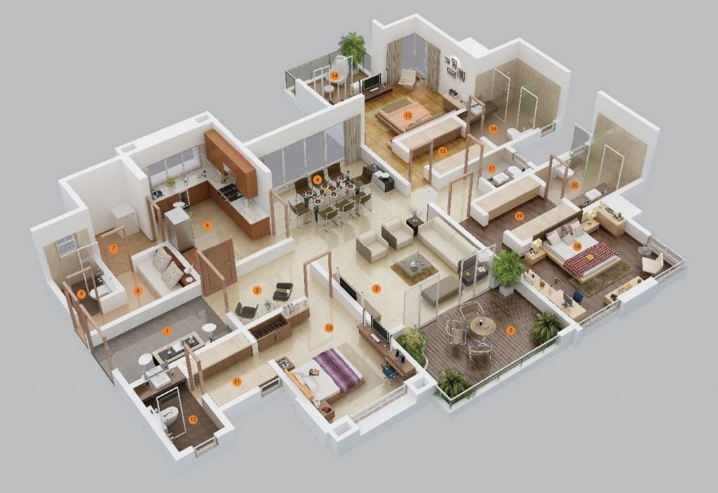 three Bed room Condominium/Home Plans