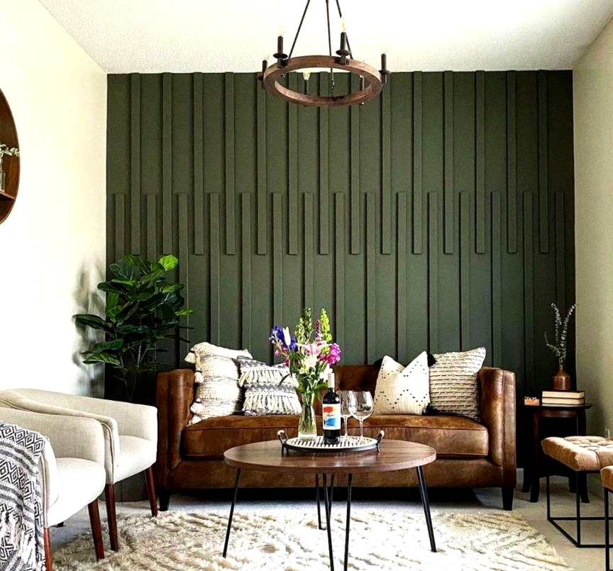 3D feature wall using wood planks and hunter green paint.