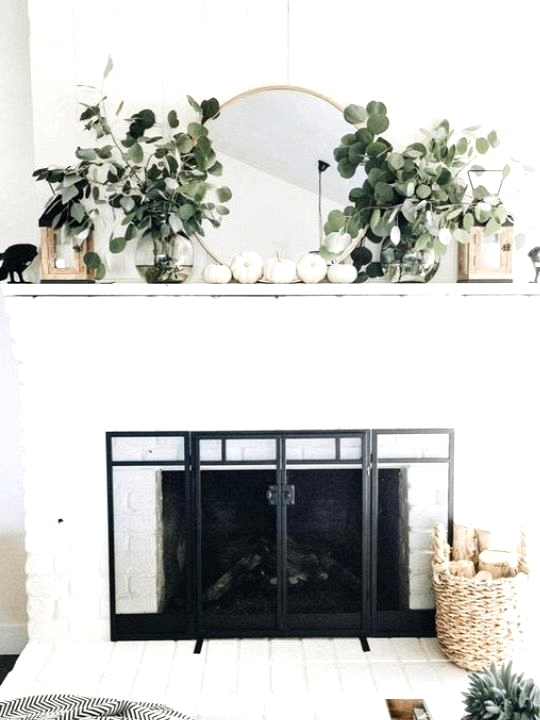 Chic fall decor with fresh eucalyptus and white pumpkins