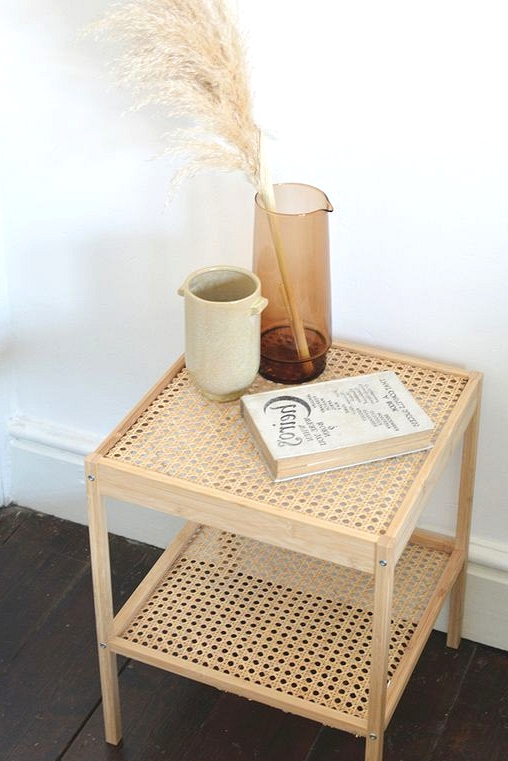 IKEA hack turns a boring side table into a boho chic bedside table.