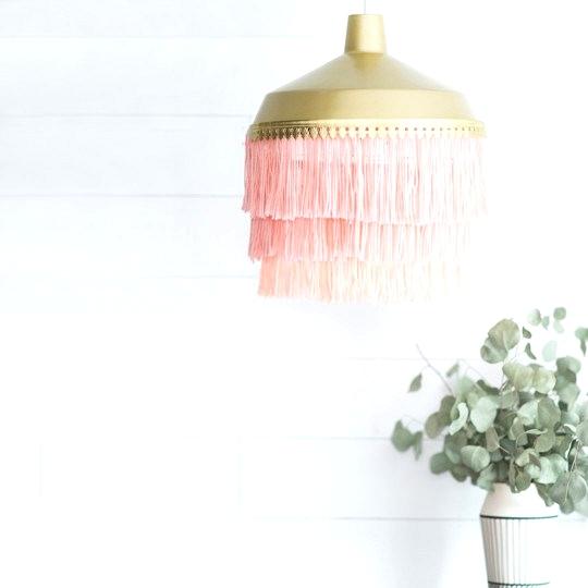 DIY Ombre Yarn Pendant Light