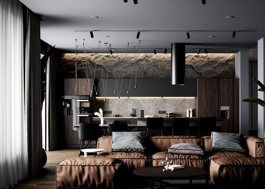 Earthy Brown And Black Decor With Rugged Rock Options & Luxurious Lighting