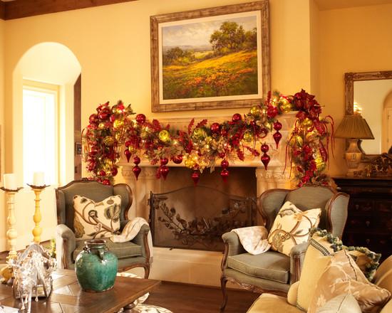 Family Room Fireplace Christmas Design Idea