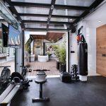 Glass Garage Door Gym Area