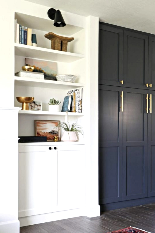 IKEA Kitchen cabinets with DIY door fronts and custom paint