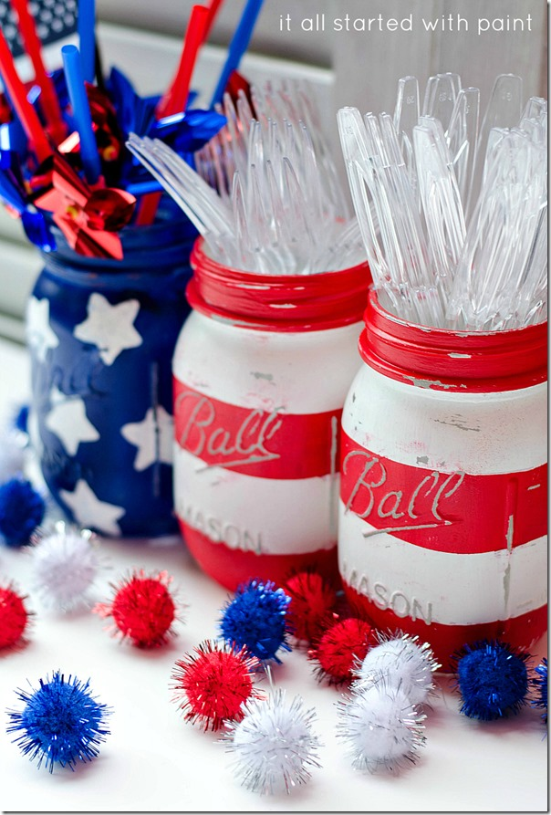 Red, White and Blue Painted Mason Jars