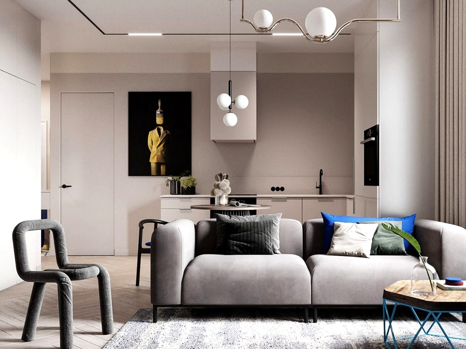 Single Bed room Flats Below 90sqm With Popping Blue Accents