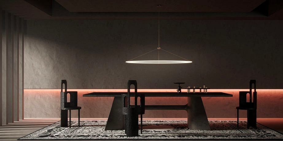 Spacious Darkish Interiors With Ruby Pink Accents