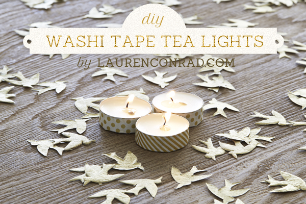 Washi Tape Inspired Tea Light Candles